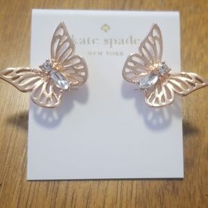Kate Spade Rose Gold Crystal Butterfly Earrings